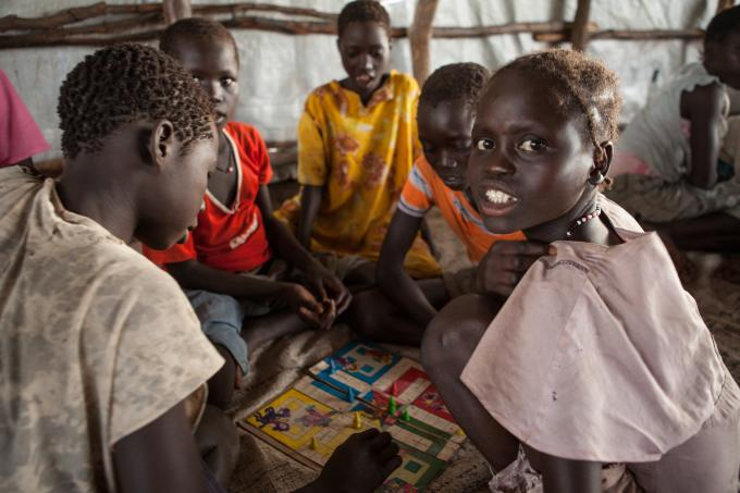 Children affected by conflict play games in a child friendly space in Doro camp, Maban, South Sudan where they can access psychosocial support from trained staff. (Colin Crowley/Save the Children)