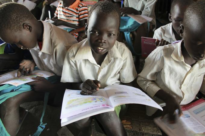 11-year-old Thep studies in a school supported by Save the Children in Akobo, Jonglei state, South Sudan. (Helen Mould/Save the Children)