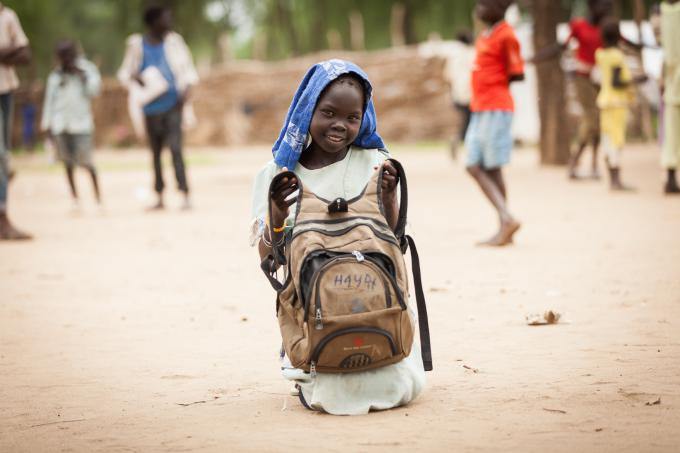 Haya, nine, attends Nur school in Doro camp, Upper Nile State