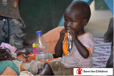 Sunday*, 2yrs, eating plumpy sup at Save the Children Julljok PHCC in Abyei Special Administrative Area/Tito Justin.