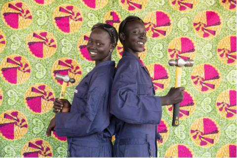 Tina* 17(L), and Maisie*, 15 (R) at Save the Children's TVET centre in Rumbek/Save the CHildren